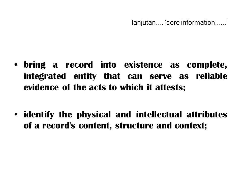 lanjutan.... 'core information......'