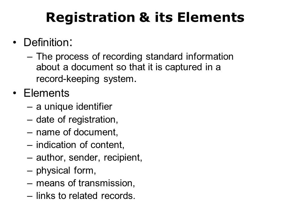 Registration & its Elements
