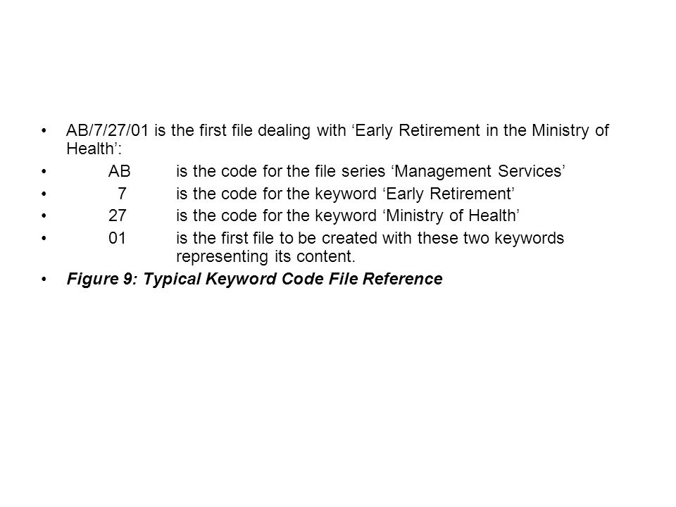 AB/7/27/01 is the first file dealing with 'Early Retirement in the Ministry of Health':