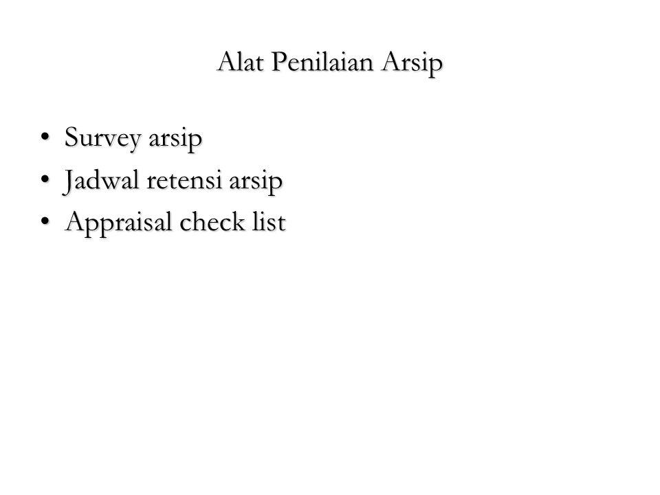 Alat Penilaian Arsip Survey arsip Jadwal retensi arsip Appraisal check list