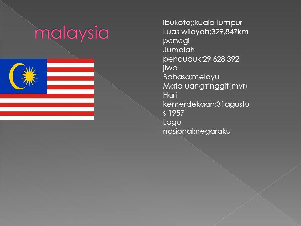 malaysia ibukota;;kuala lumpur Luas wilayah;329,847km persegi