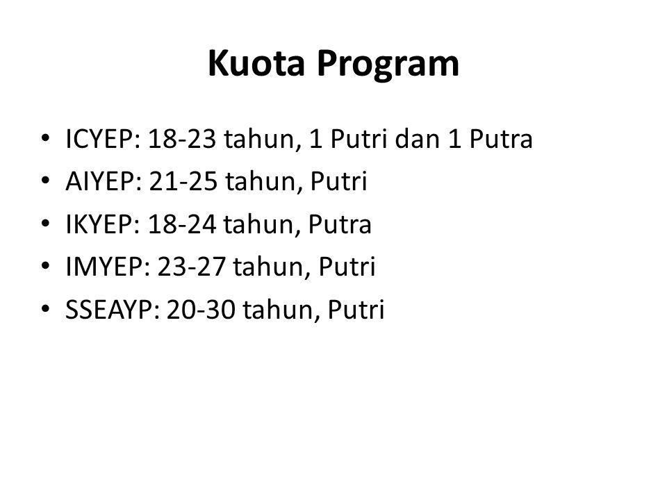 Kuota Program ICYEP: 18-23 tahun, 1 Putri dan 1 Putra