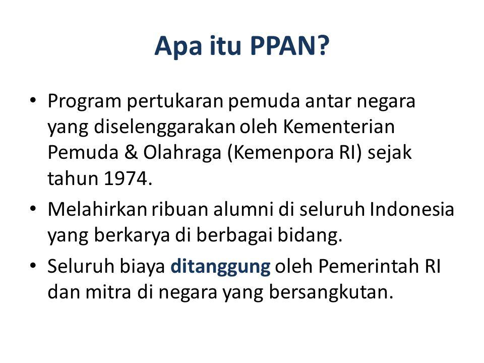 Apa itu PPAN Program pertukaran pemuda antar negara yang diselenggarakan oleh Kementerian Pemuda & Olahraga (Kemenpora RI) sejak tahun 1974.