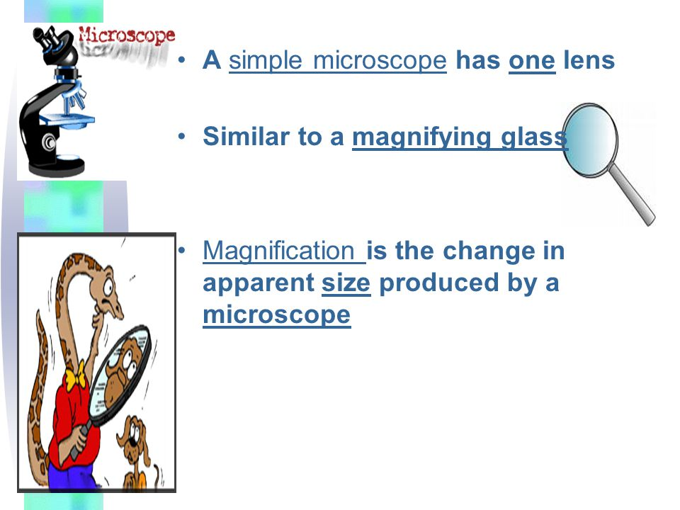 A simple microscope has one lens