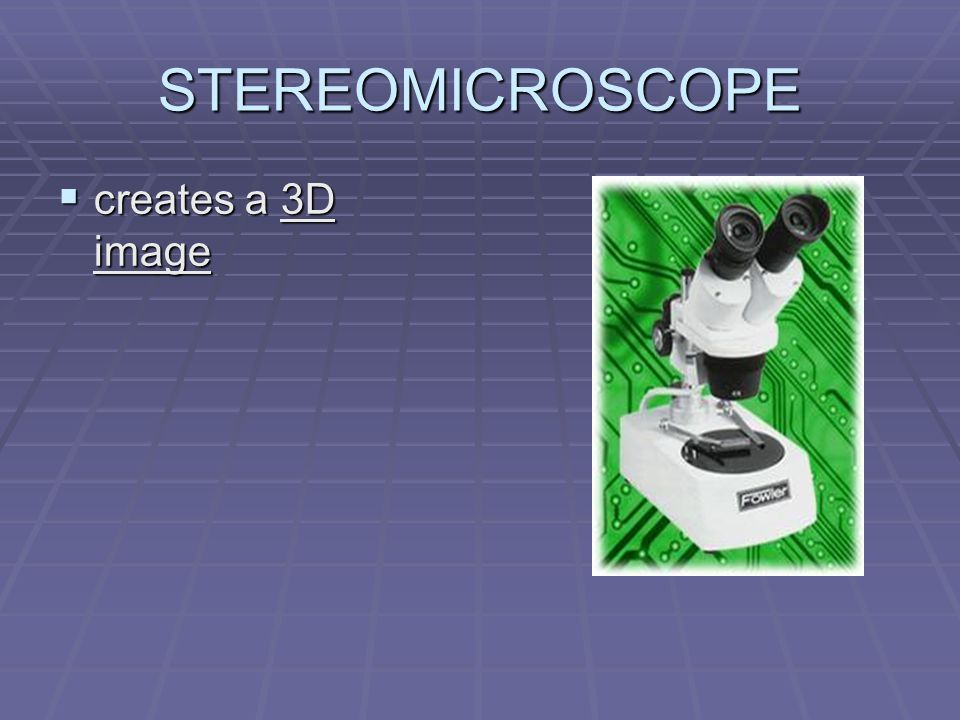 STEREOMICROSCOPE creates a 3D image