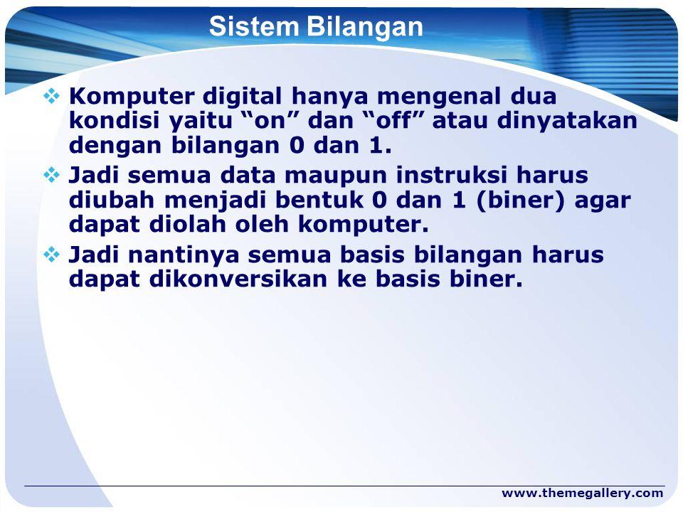 Sistem Bilangan Komputer digital hanya mengenal dua kondisi yaitu on dan off atau dinyatakan dengan bilangan 0 dan 1.