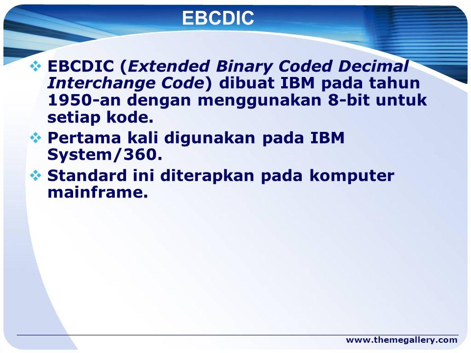 EBCDIC EBCDIC (Extended Binary Coded Decimal Interchange Code) dibuat IBM pada tahun 1950-an dengan menggunakan 8-bit untuk setiap kode.