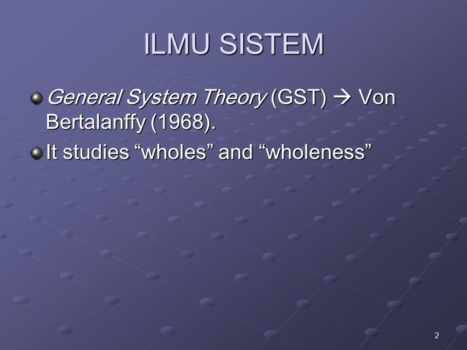 ILMU SISTEM General System Theory (GST)  Von Bertalanffy (1968).