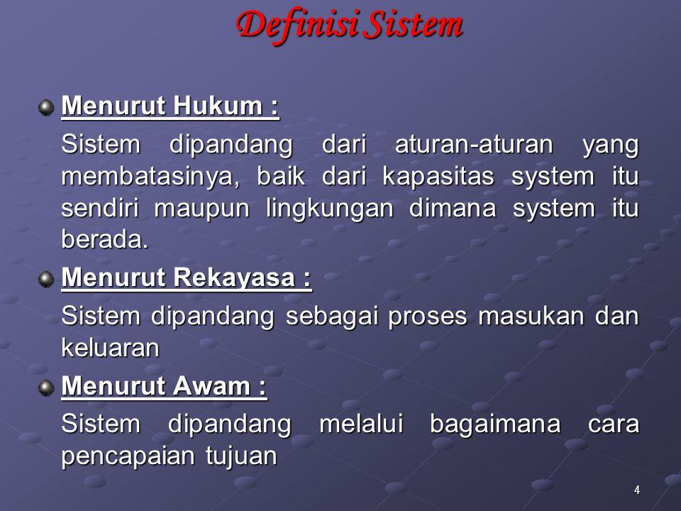 Definisi Sistem Menurut Hukum :