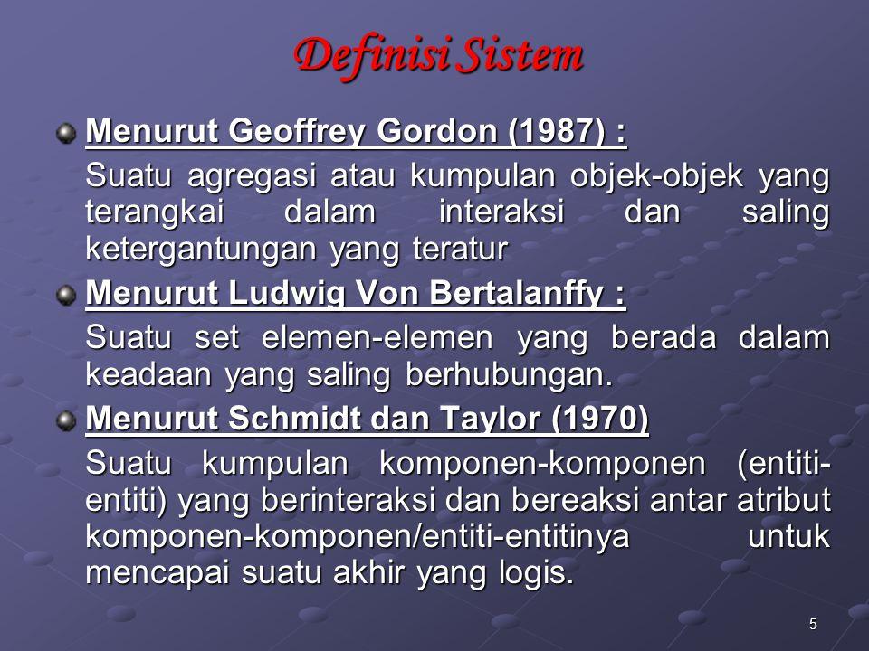 Definisi Sistem Menurut Geoffrey Gordon (1987) :