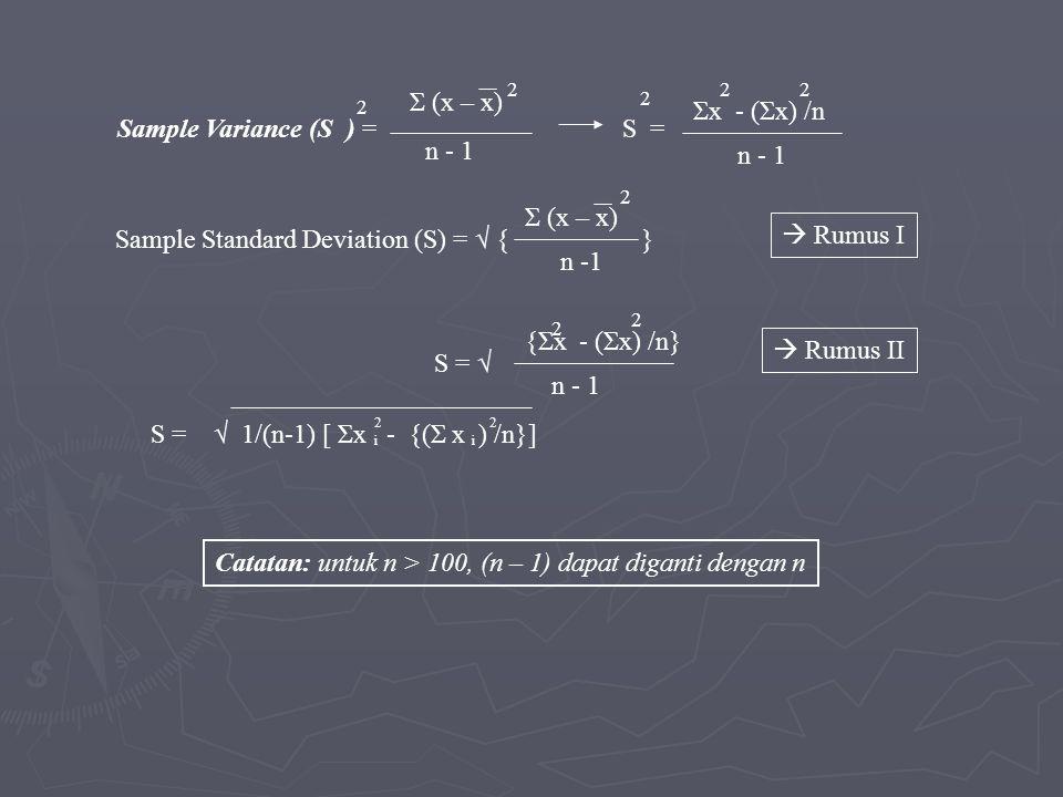 Sample Standard Deviation (S) = √ { }  Rumus I n -1