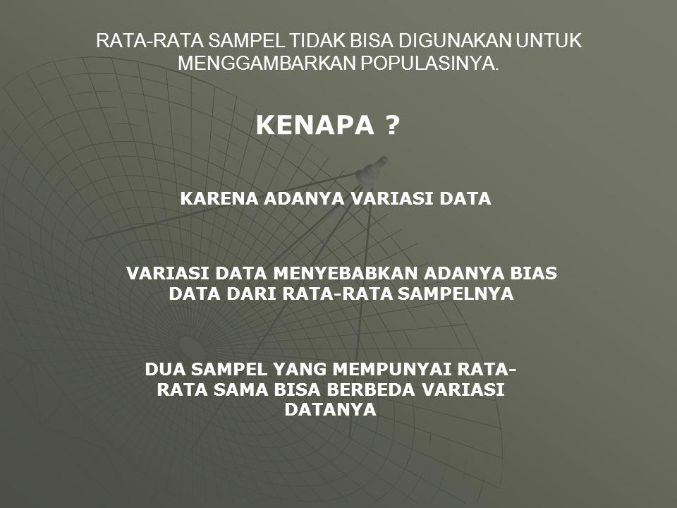 RATA-RATA SAMPEL TIDAK BISA DIGUNAKAN UNTUK MENGGAMBARKAN POPULASINYA.
