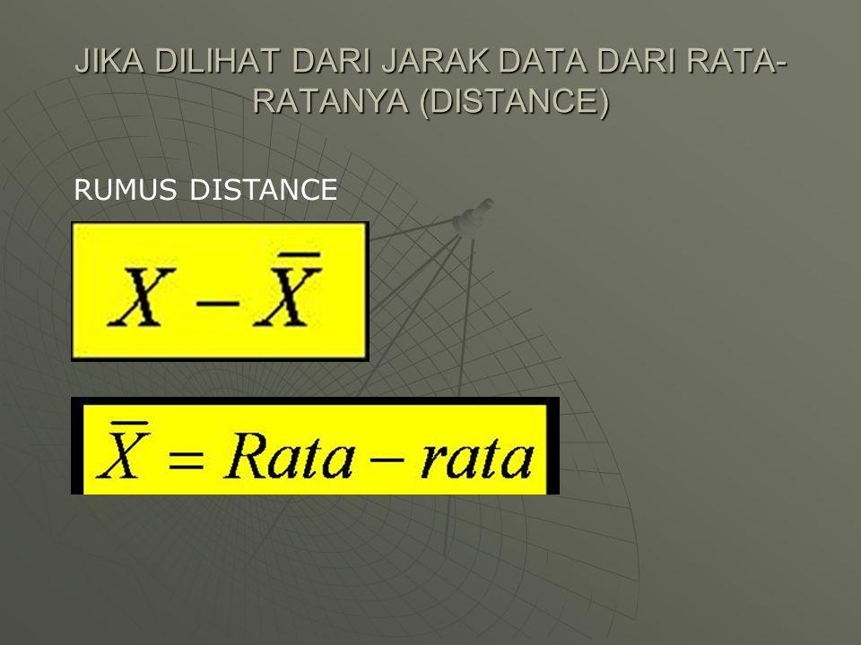 JIKA DILIHAT DARI JARAK DATA DARI RATA-RATANYA (DISTANCE)