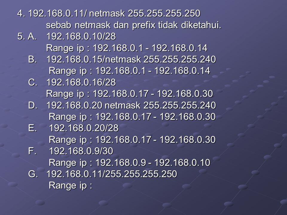 4. 192.168.0.11/ netmask 255.255.255.250 sebab netmask dan prefix tidak diketahui. 5. A. 192.168.0.10/28.