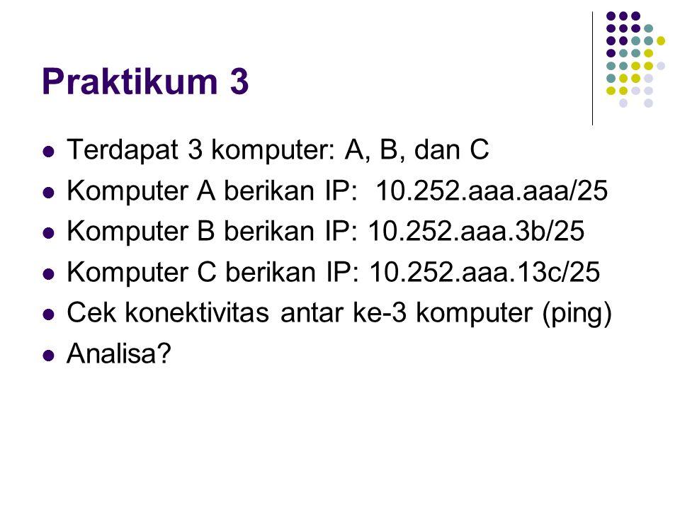 Praktikum 3 Terdapat 3 komputer: A, B, dan C