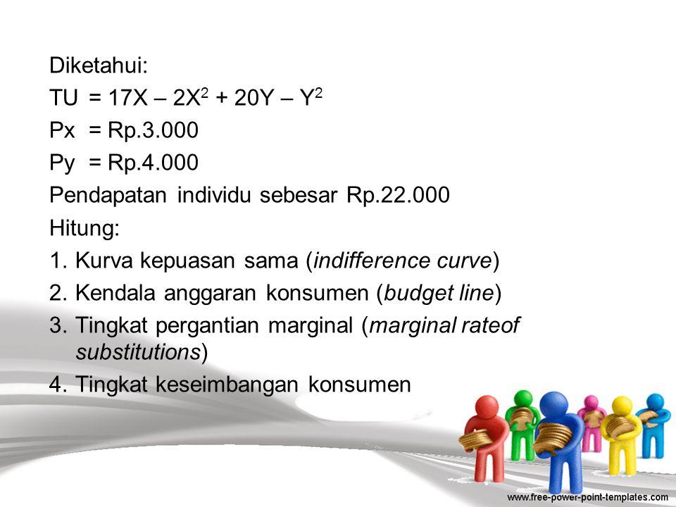 Diketahui: TU = 17X – 2X2 + 20Y – Y2 Px = Rp. 3. 000 Py = Rp. 4