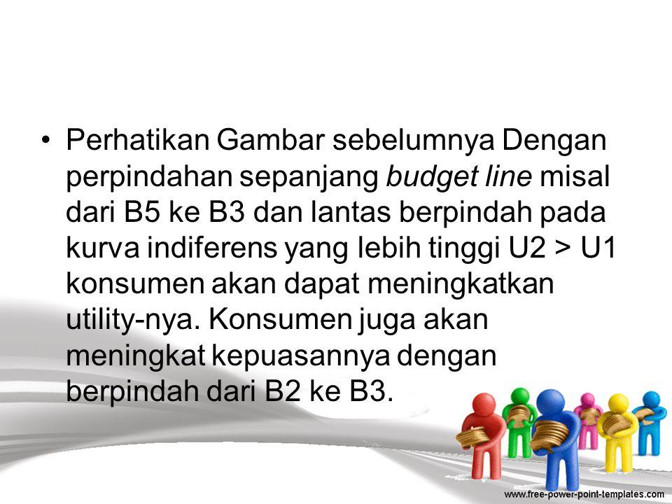 Perhatikan Gambar sebelumnya Dengan perpindahan sepanjang budget line misal dari B5 ke B3 dan lantas berpindah pada kurva indiferens yang lebih tinggi U2 > U1 konsumen akan dapat meningkatkan utility-nya.