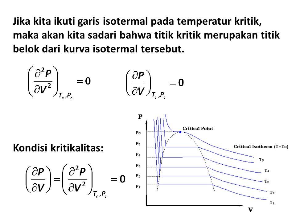Jika kita ikuti garis isotermal pada temperatur kritik, maka akan kita sadari bahwa titik kritik merupakan titik belok dari kurva isotermal tersebut.