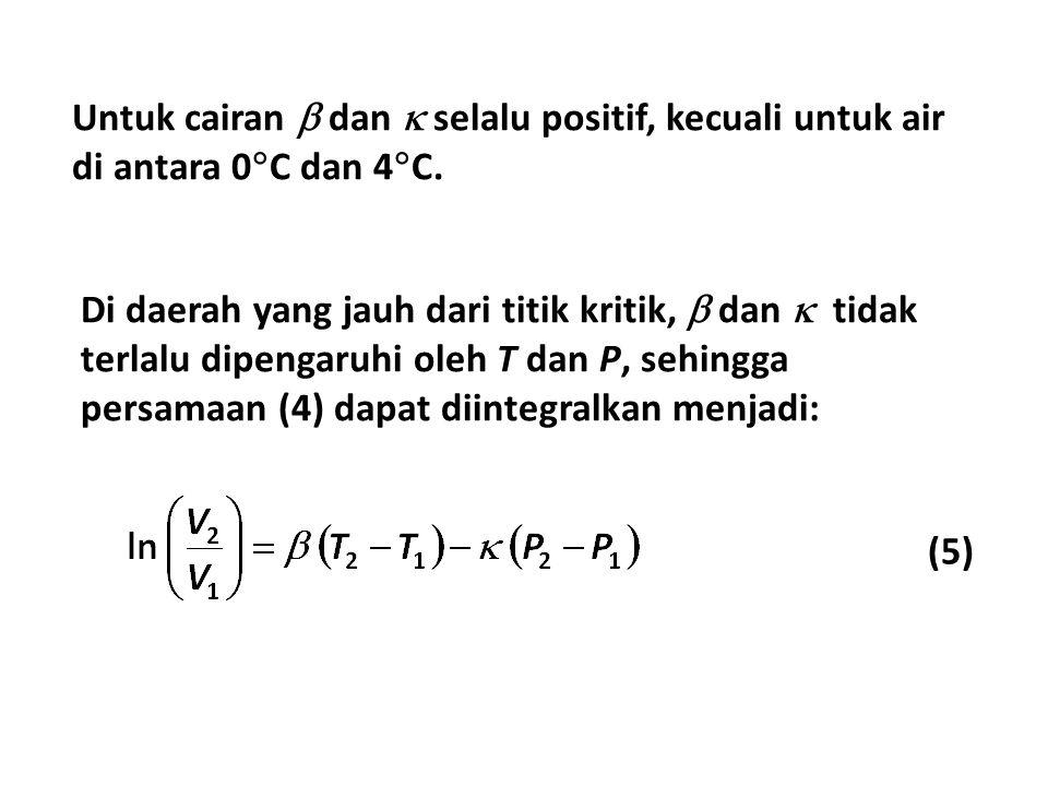 Untuk cairan  dan  selalu positif, kecuali untuk air di antara 0C dan 4C.