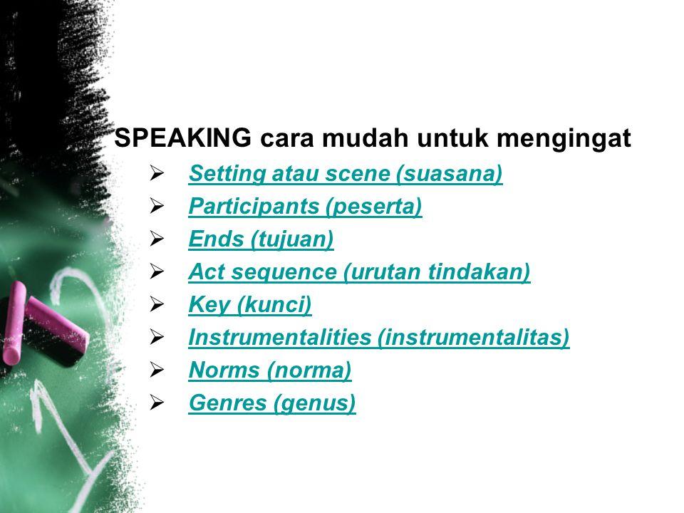 SPEAKING cara mudah untuk mengingat