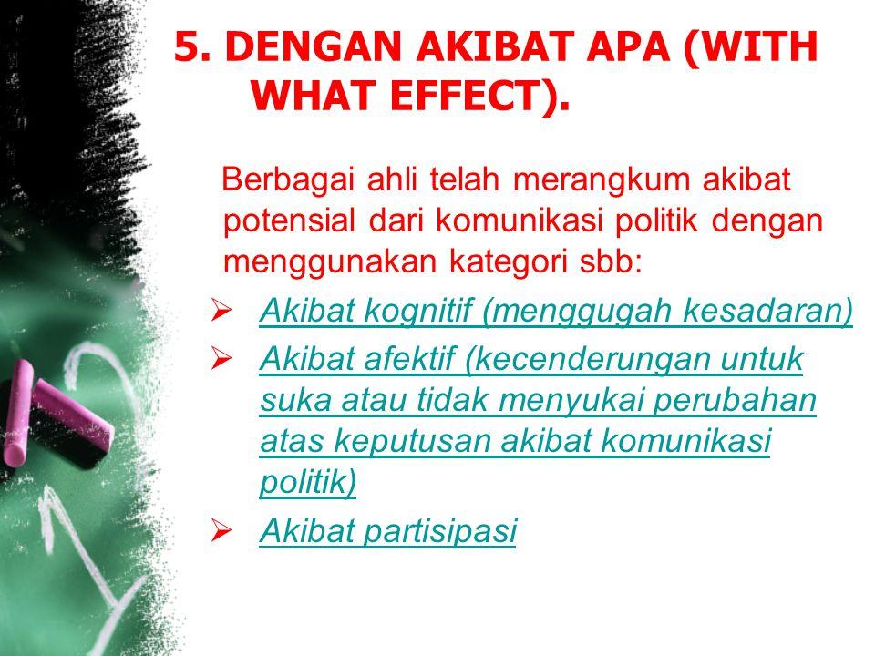 5. DENGAN AKIBAT APA (WITH WHAT EFFECT).