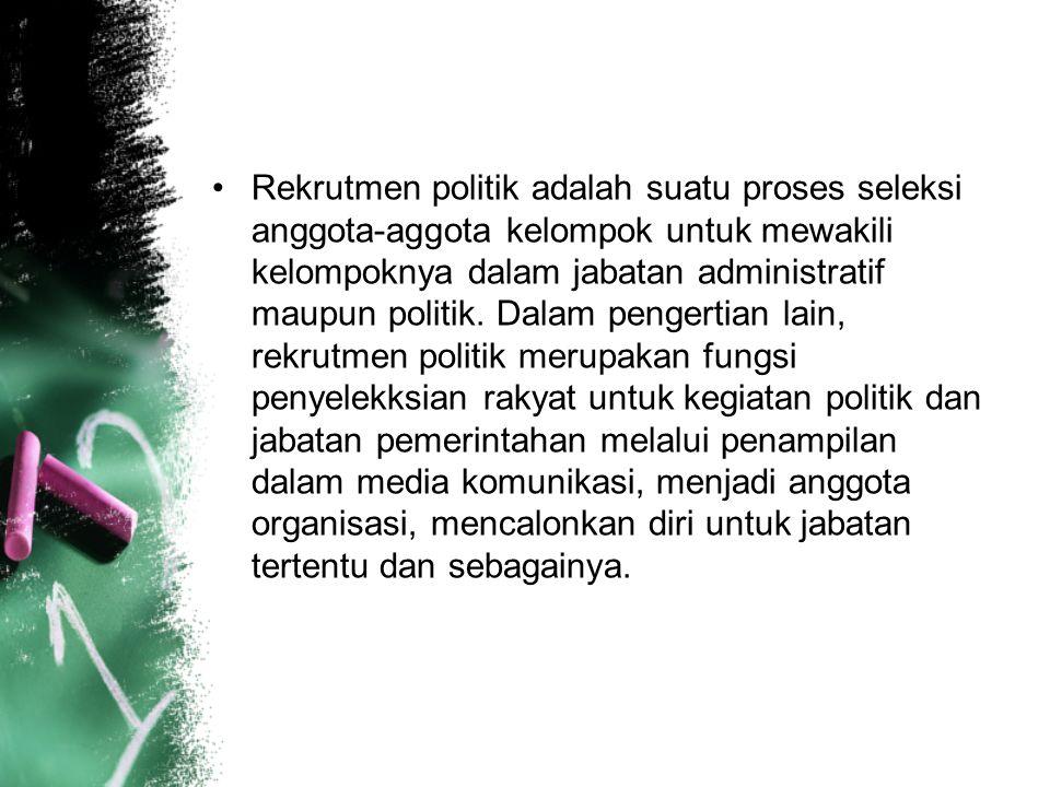 Rekrutmen politik adalah suatu proses seleksi anggota-aggota kelompok untuk mewakili kelompoknya dalam jabatan administratif maupun politik.