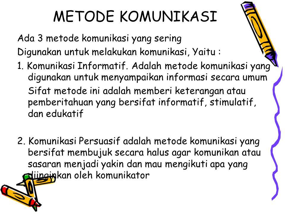 METODE KOMUNIKASI Ada 3 metode komunikasi yang sering