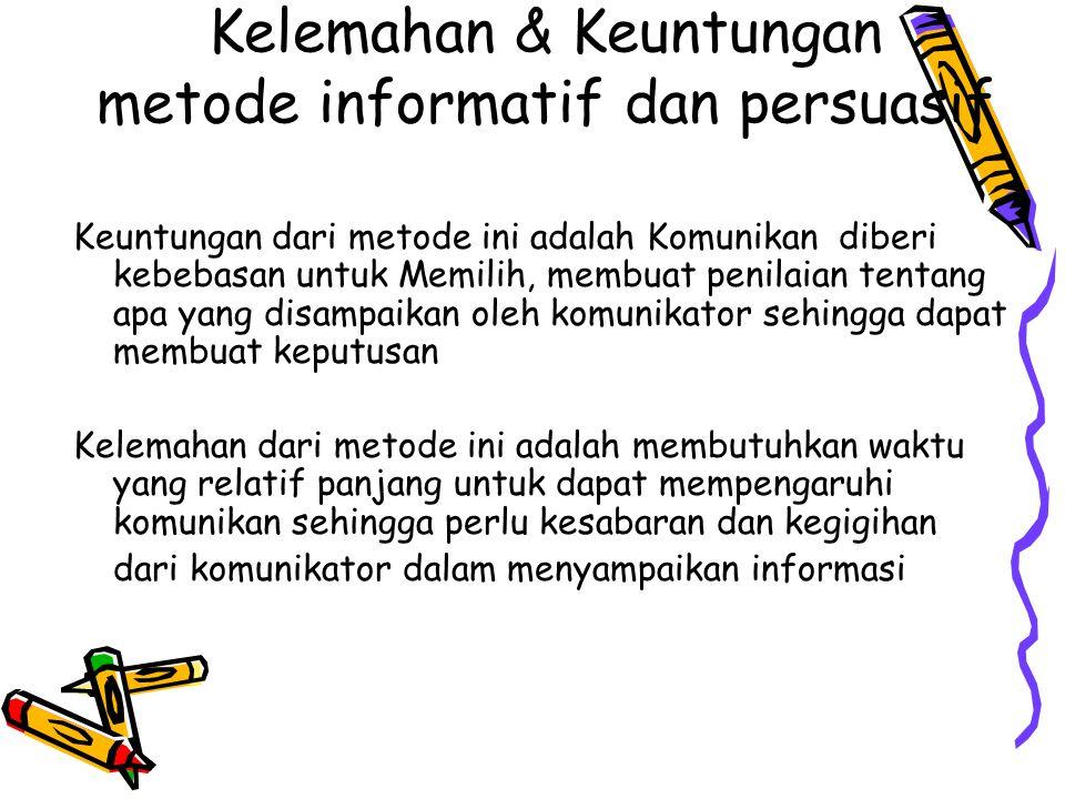 Kelemahan & Keuntungan metode informatif dan persuasif