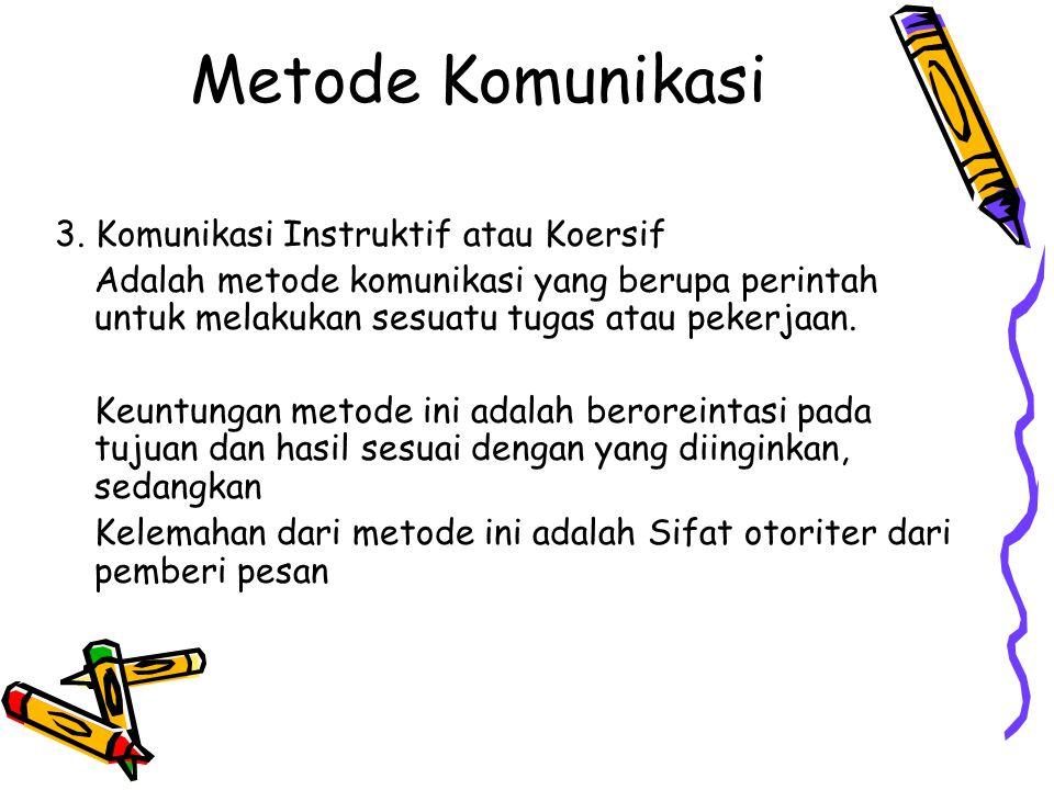 Metode Komunikasi 3. Komunikasi Instruktif atau Koersif
