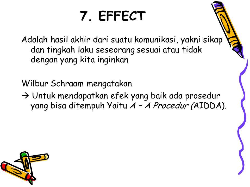 7. EFFECT Adalah hasil akhir dari suatu komunikasi, yakni sikap dan tingkah laku seseorang sesuai atau tidak dengan yang kita inginkan.
