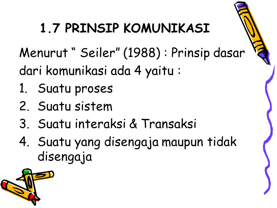 1.7 PRINSIP KOMUNIKASI Menurut Seiler (1988) : Prinsip dasar. dari komunikasi ada 4 yaitu : Suatu proses.