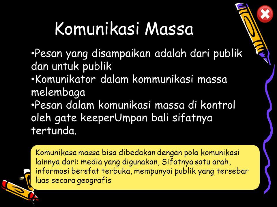 Komunikasi Massa Pesan yang disampaikan adalah dari publik dan untuk publik. Komunikator dalam kommunikasi massa melembaga.