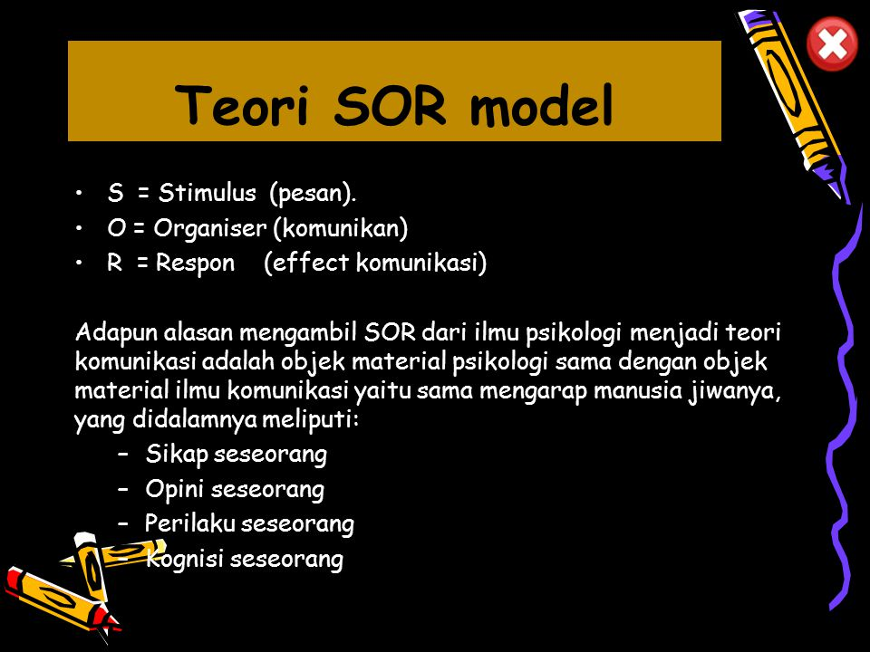 Teori SOR model S = Stimulus (pesan). O = Organiser (komunikan)