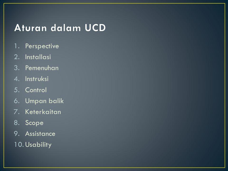 Aturan dalam UCD Perspective Installasi Pemenuhan Instruksi Control