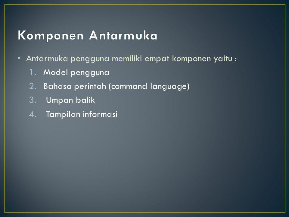 Komponen Antarmuka Antarmuka pengguna memiliki empat komponen yaitu :
