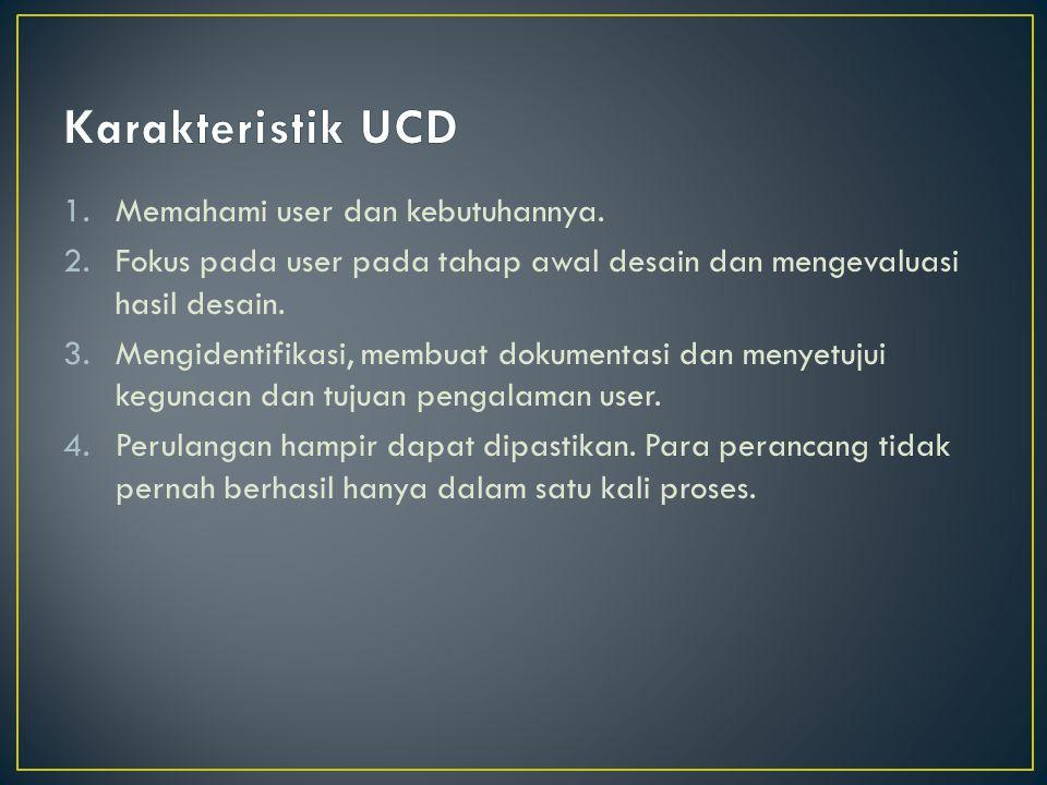 Karakteristik UCD Memahami user dan kebutuhannya.