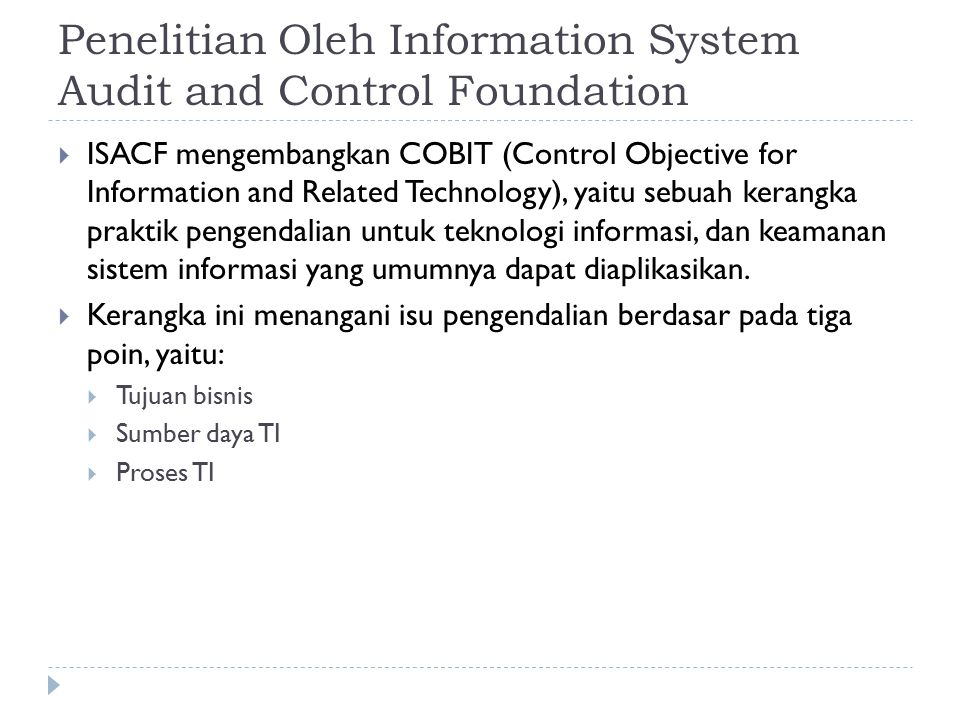 Penelitian Oleh Information System Audit and Control Foundation
