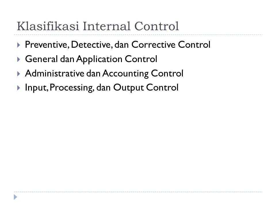 Klasifikasi Internal Control