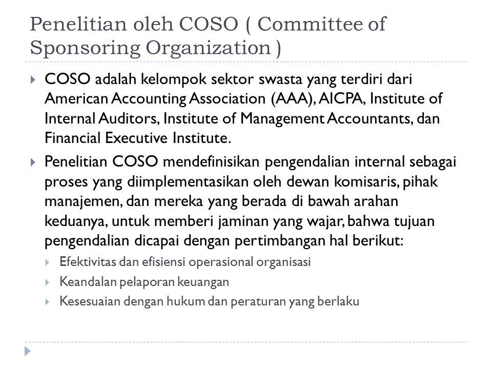 Penelitian oleh COSO ( Committee of Sponsoring Organization )