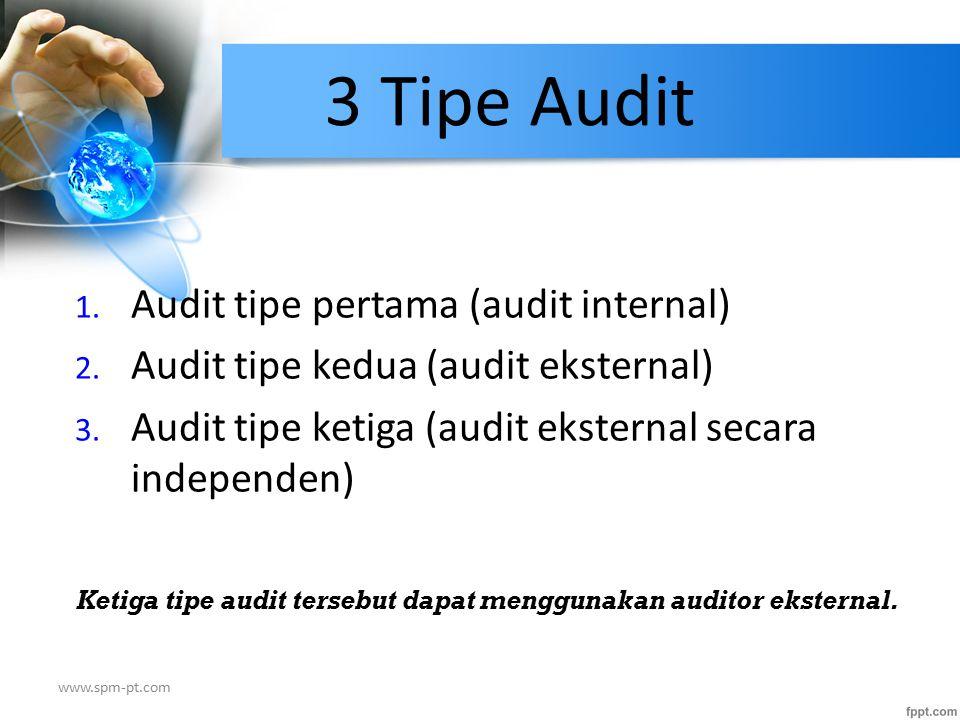 Ketiga tipe audit tersebut dapat menggunakan auditor eksternal.