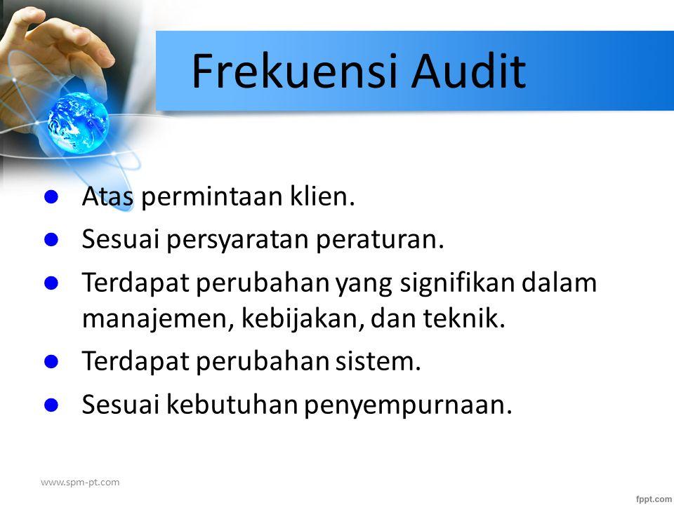 Frekuensi Audit Atas permintaan klien. Sesuai persyaratan peraturan.