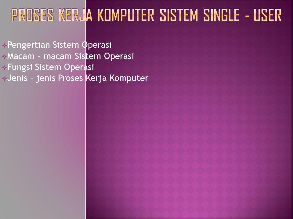 Proses kerja Komputer Sistem Single - user