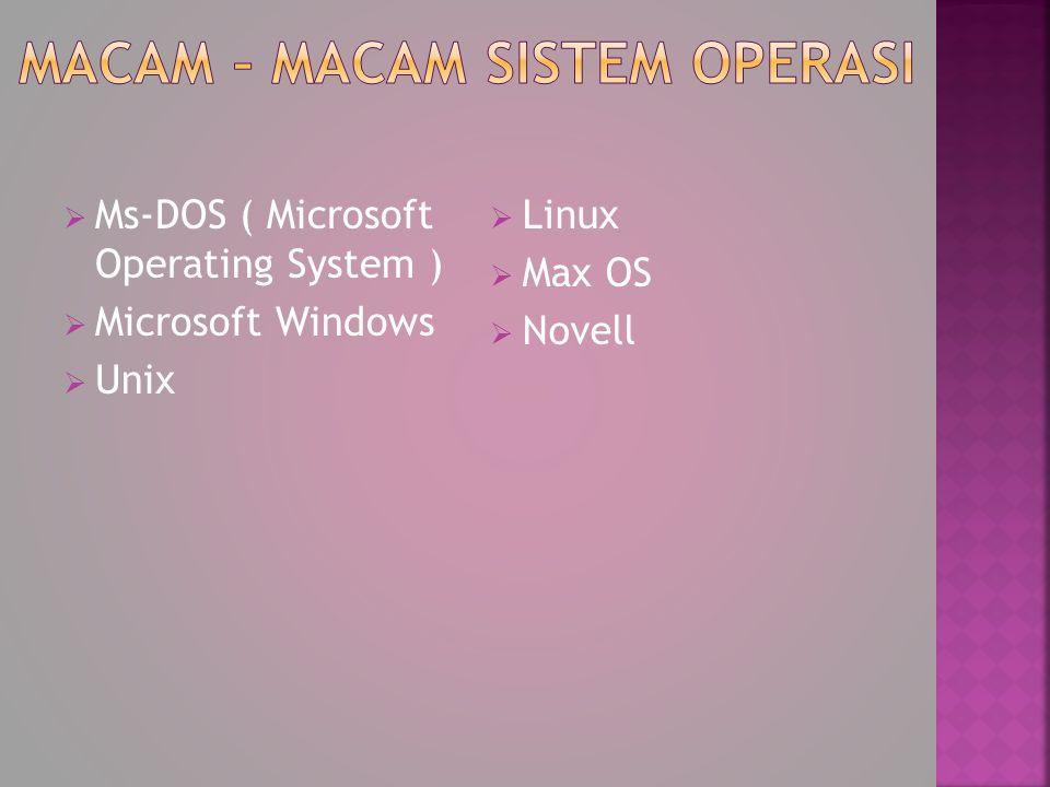 Macam – macam sistem operasi