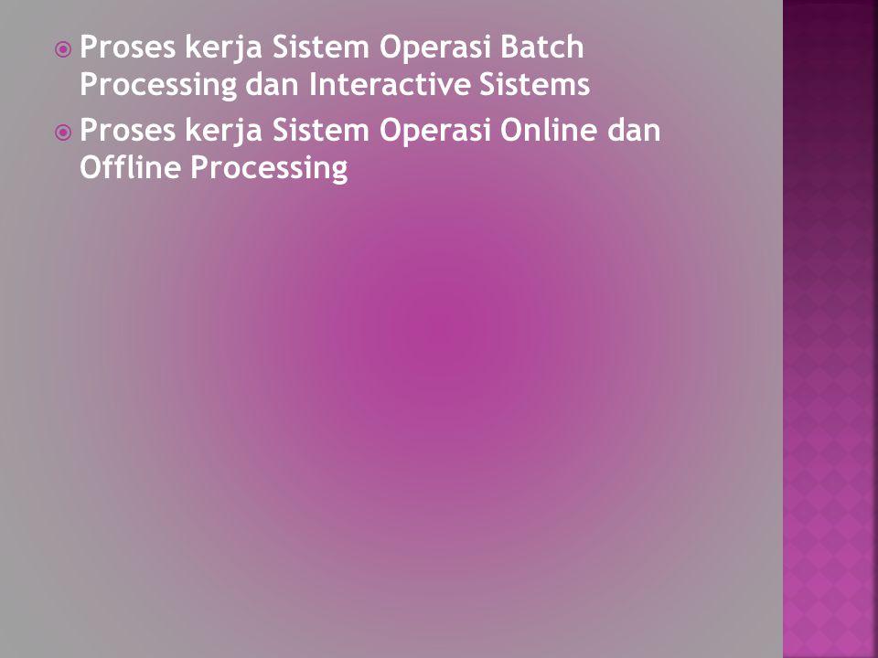 Proses kerja Sistem Operasi Batch Processing dan Interactive Sistems
