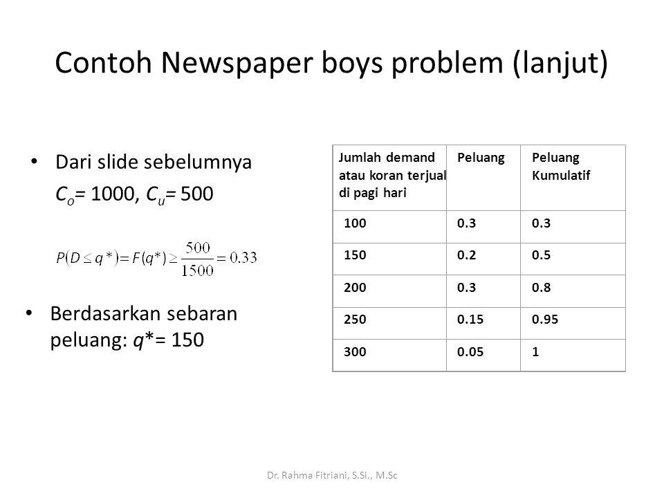 Contoh Newspaper boys problem (lanjut)