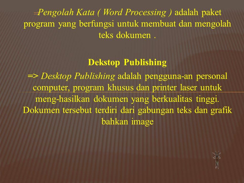 Pengolah Kata ( Word Processing ) adalah paket program yang berfungsi untuk membuat dan mengolah teks dokumen .