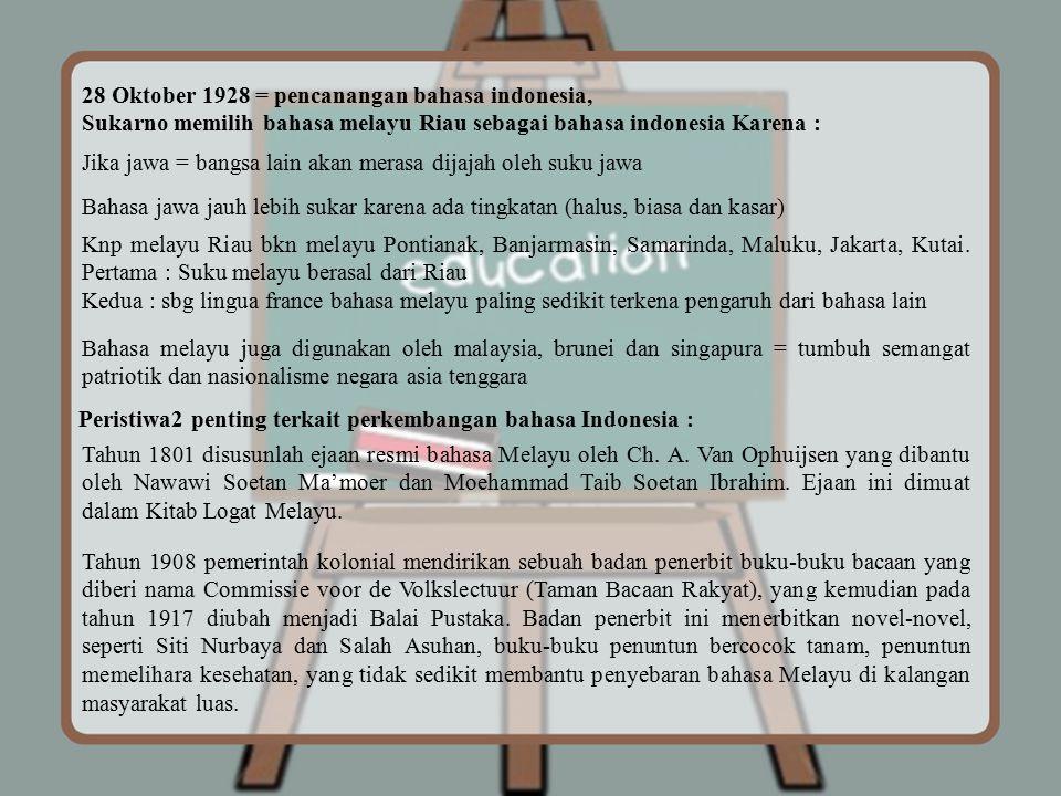 28 Oktober 1928 = pencanangan bahasa indonesia,