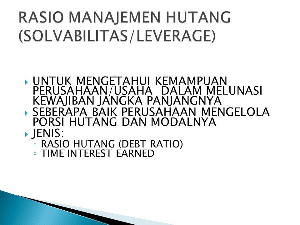 RASIO MANAJEMEN HUTANG (SOLVABILITAS/LEVERAGE)