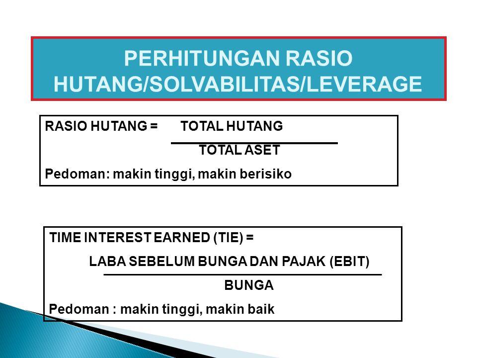 PERHITUNGAN RASIO HUTANG/SOLVABILITAS/LEVERAGE