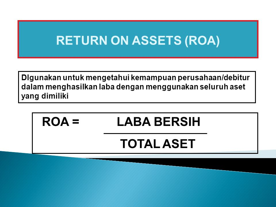 RETURN ON ASSETS (ROA) ROA = LABA BERSIH TOTAL ASET
